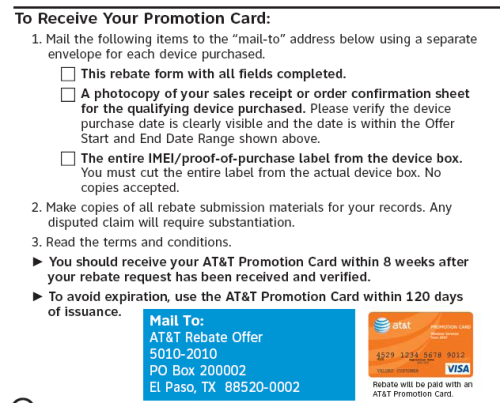 AT&T Rebate Form
