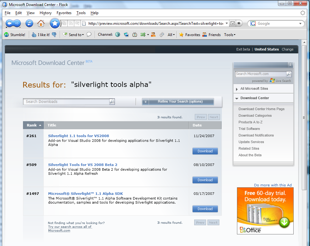 Microsoft Download Center Beta – in Silverlight! | The Pursuit of a Life