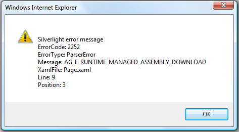 Silverlight Error AG_E_RUNTIME_MANAGED_ASSEMBLY_DOWNLOAD