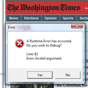 Washington Times InvalidArgument