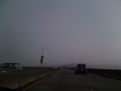 520 bridge floating in fog