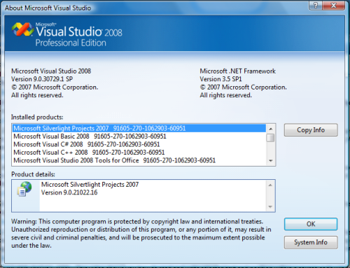 Spelling error in the VS 2008 SP1 Help|About dialog
